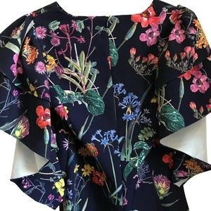 NWT! GRACIA Floral Navy W/ Statment Sleeves Small